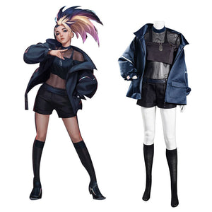 League of Legends LOL KDA Groups Halloween Carnival Suit Akali The Rogue Assassin Cosplay Costume Coat Vest Outfit