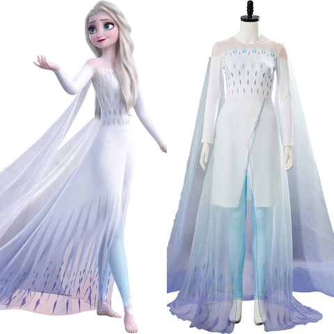 Frozen 2 Elsa Ahtohallan Cave Snow Flake Queen Dress Cosplay Costume
