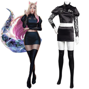 League of Legends LOL KDA The Baddest Halloween Carnival Suit Fox Ahri The Nine-Tailed Cosplay Costume Women Skirt Outfit