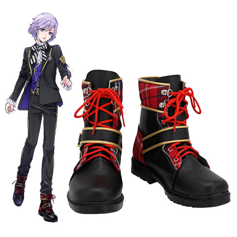 Twisted Wonderland Pomefiore Epel Felmier Cosplay Shoes Black Red Boots Custom Made