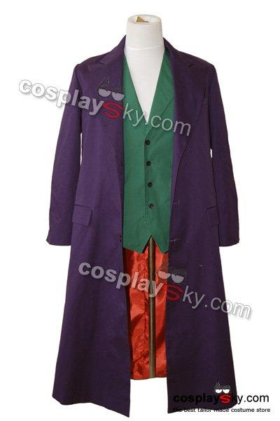 Batman Dark Knight Joker Purple Long Trench Coat Halloween costume Cosplay