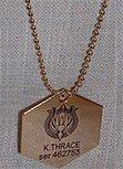 Battlestar Galactica STARBUCK Gold Tone Metal Necklace Pendant DOG TAG