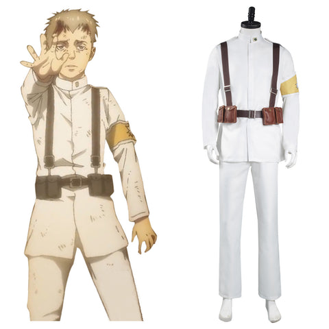 Shingeki no Kyojin Attack on Titan S4 Halloween Carnival Suit Cosplay Costume Marley Eldian Army White Uniform Outfits