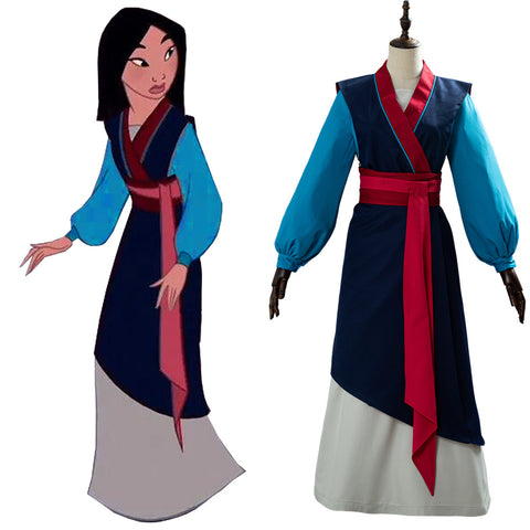 Hua Mulan Anime Hanfu Dress Chinese Clothing Full Set Cosplay Costume