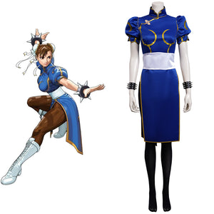 Game Street Fighter(SF) Halloween Carnival SuiChun-Li Cosplay Costume Cheongsam  Dress Outfits t