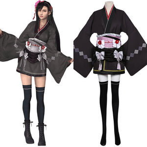 Final Fantasy VII Remake Halloween Carnival Costume Tifa Lockhart Cosplay Costume Women Kimono Dress Outfit