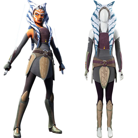 Star Wars Rebels Ahsoka Tano Women Dress Outfit Cosplay Costume Halloween Carnival Costume