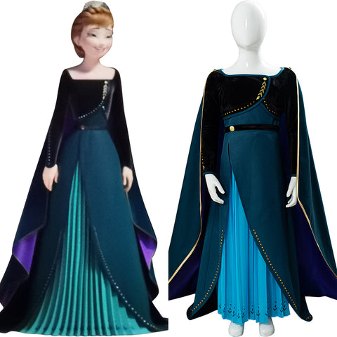 Frozen II Cloak Princess Anna Long Dress Outfit For Children Cosplay Costume