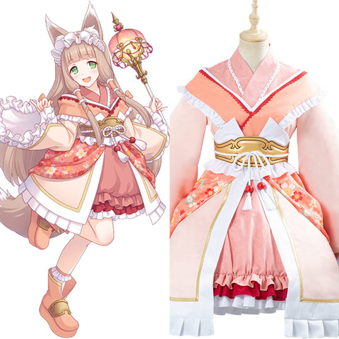 Princess Connect Re:Dive Game Himemiya Maho Cosplay Costume Fox Lolita Kimono Dress Outfit Halloween Carnival