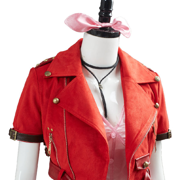 Final Fantasy VII 7 Aerith Aeris Gainsborough Cosplay Costume Pink Dress Outfit