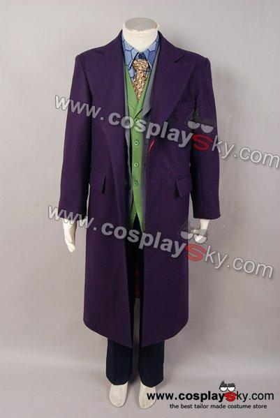 Dark Knight Heath Ledger Joker 6 pcs Costume Set *  Wool trench Coat Version