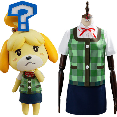 Isabelle Halloween Women Uniform Outfits Game Animal Crossing Cosplay Costume