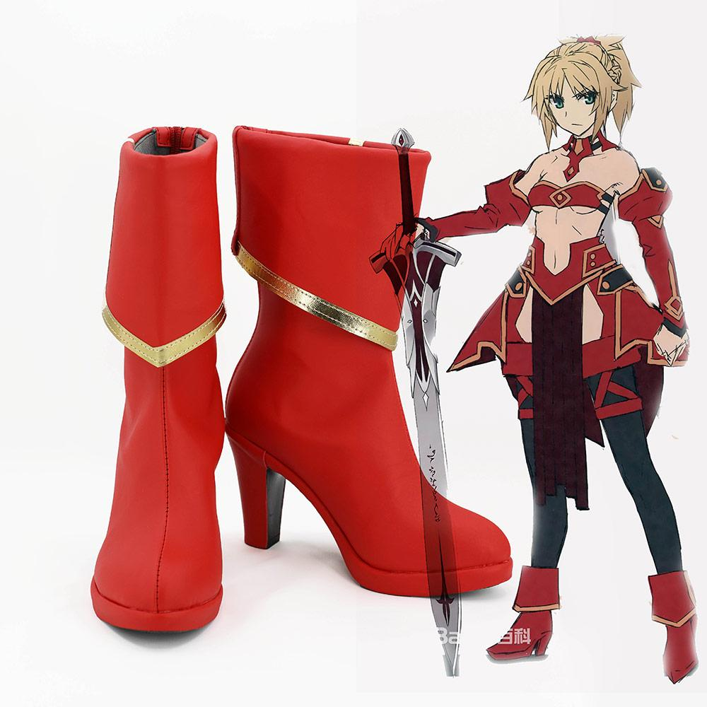 Fate/Apocrypha FA Saber of Red Mordred Boots Cosplay Shoes