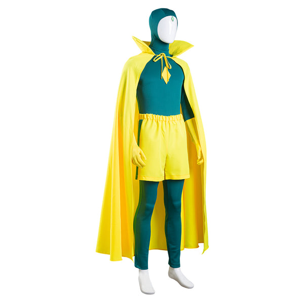 Wanda Vision Halloween Carnival Suit Vision Cosplay Costume Jumpsuit Cloak Outfit