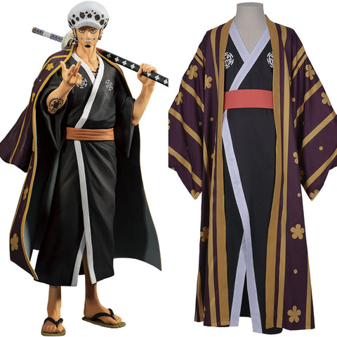 One Piece Trafalgar Law/Trafalgar D Water Law Kimono Robe Full Suit Outfit Cosplay Costume Halloween Carnival Costume