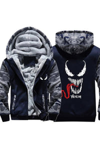 2018 Venom Symbiote Thick Fleece Camouflage Winter Jacket Zip Up Hoodie