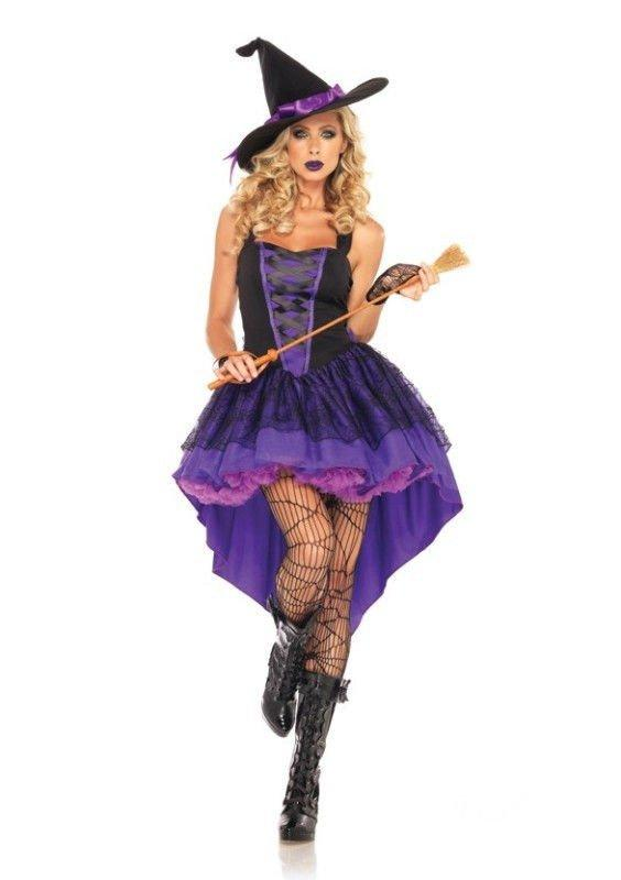Halloween Sexy Purple Witch Fairy Wizard Adult Cosplay Costume