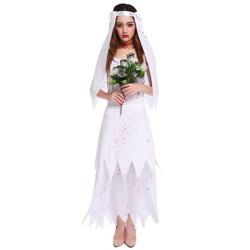 Dead Bride Halloween Costume.Halloween Sexy Zombie Bride Adult Ghost Dress Cosplay Costume