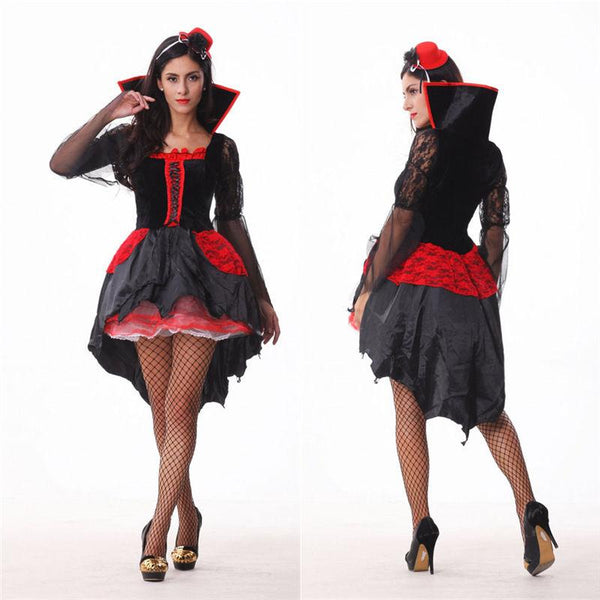 Halloween Vampire Sexy Womens Gown Robe Cloak Adult Suit Dress Cosplay Costume Suit Dress
