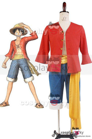 One Piece Monkey D Luffy  Straw Hat Suit Cosplay Costume
