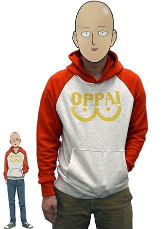 One Punch Man Hero Saitama Oppai Logo Hoodie Jacket Cosplay Costume