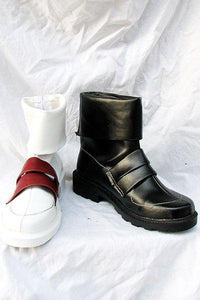Satan Cosplay Boots Shoes Black and white
