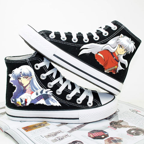 Inuyasha Black Canvas Shoes Cute High Sneakers Cosplay Shoes