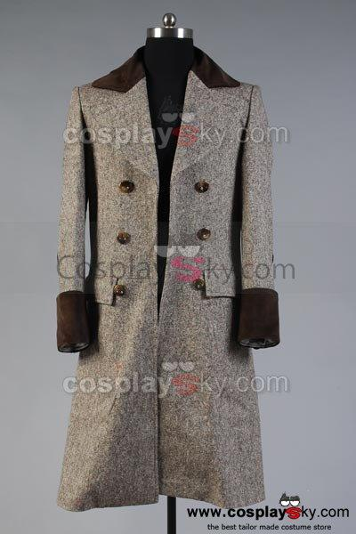 Doctor Who Dr. Wenge Brown Long Trench Coat Costume Custom Made