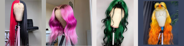 Colorful Human Hair Lace Front Wigs