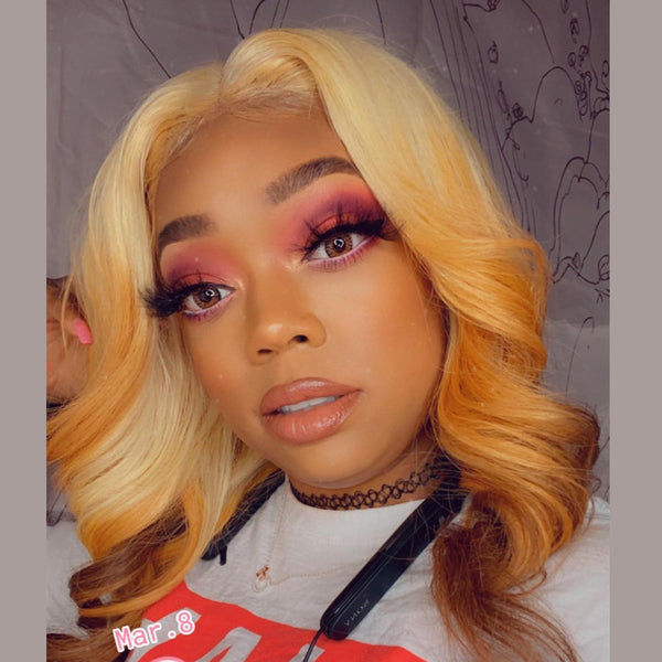 Human Hair 613 Blonde With Dark Yellow Lace Front Wig