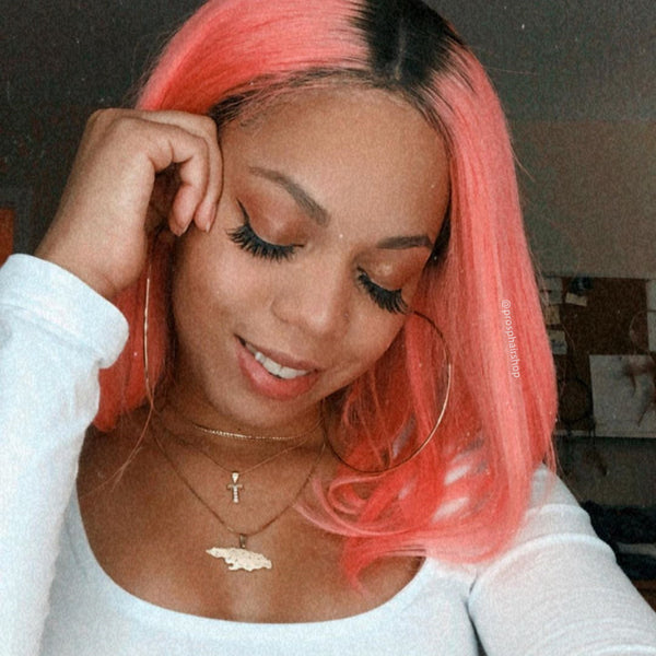 Human Hair Lace Front Pink Color With Dark Root Bob Wig