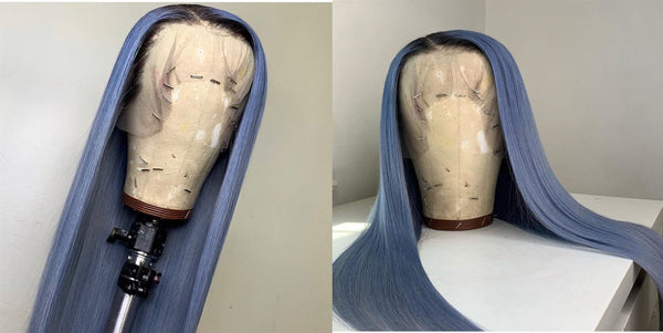 Peruvian Hair Aegean Blue Color With Dark Root Lace Front Wig