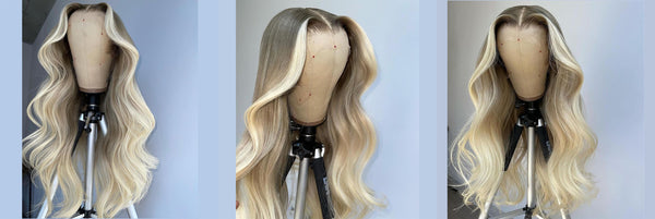 Ice Blonde With Dark Root Lace Front Fashion Wig
