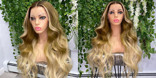 Peruvian Hair Olive Green Ombre Color Black Root Lace Front Wig