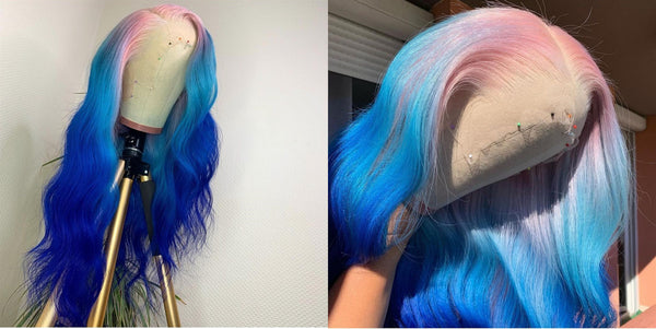 Pink And Blue Ombre Color Lace Front Wig