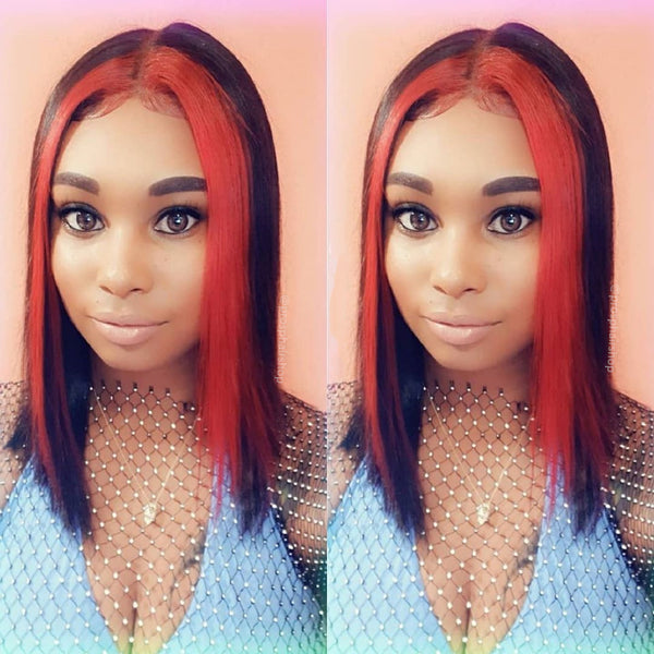 Peruvian Hair Lace Front Black Color Red Streak Highlight Wigs