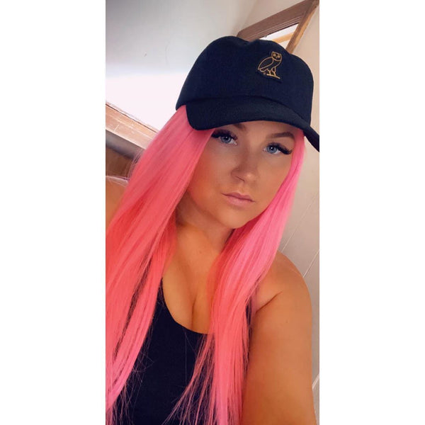 Human hair lace front pink color wig