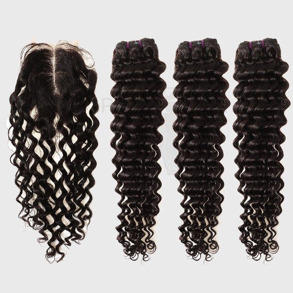 Brazilian Hair Bundles With 4x4 Lace Closure Deep Wave