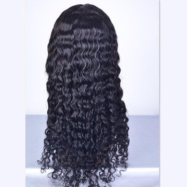 Human Hair Deep Curl Lace Front Closure Wig Black Style