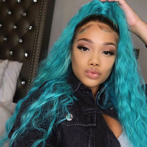 Peruvian Hair Blue Color With Dark Root Lace Front Wig