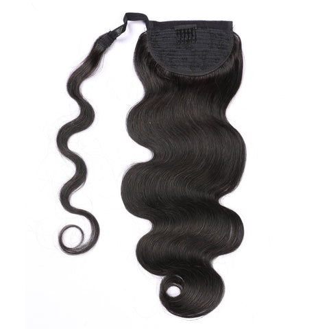 Human Hair Ponytail Extensions Natural Color Body Wave Style