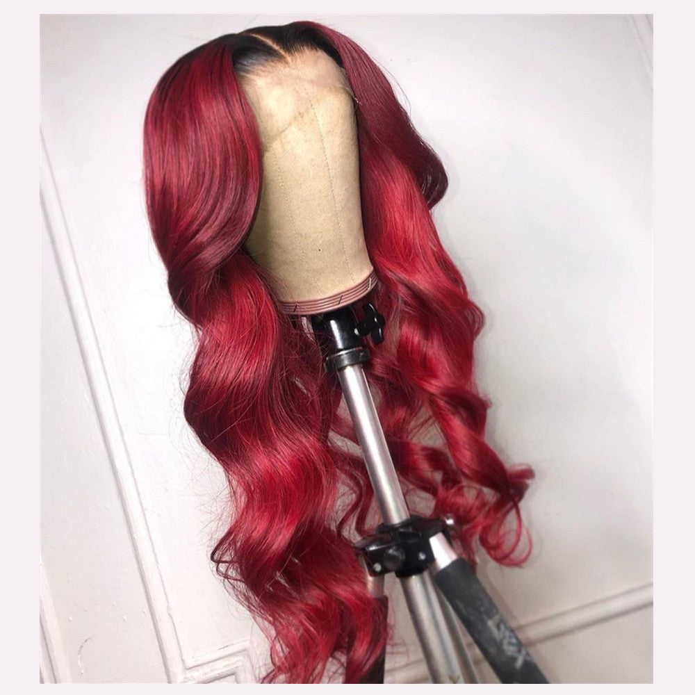 Peruvian Hair Dark Root Red Color Natural Wave Lace Front Wig