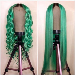 Peruvian Hair Lace Front Fashion Emerald Green Wigs