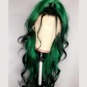 Human Hair Green Ombre With Dark Root Lace Front Wig