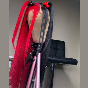 Human Peruvian Hair Half Red Half Black Lace Front Straight Wig