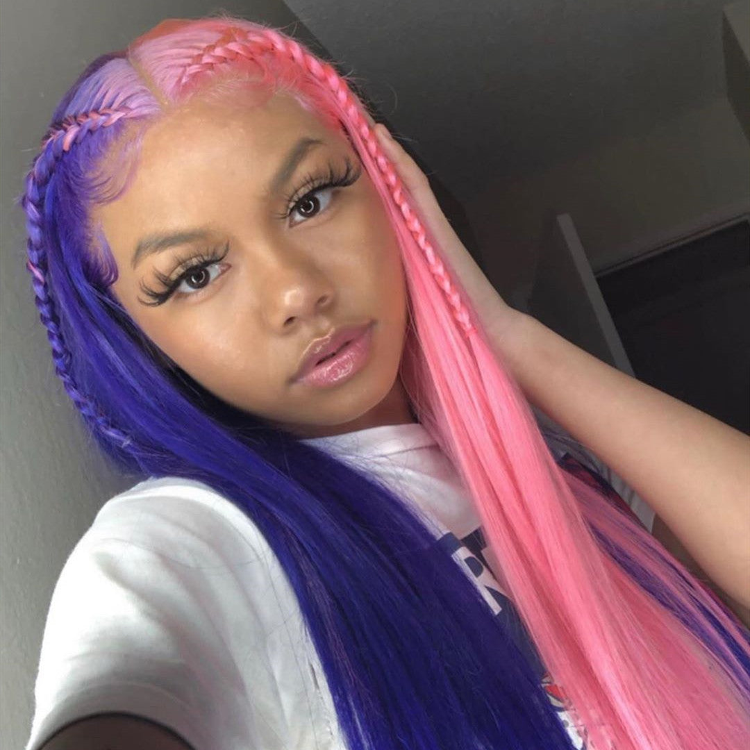 Peruvian Hair Half Pink And Half Purple Lace Front Straight Wig