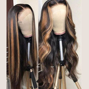 Human Hair Brown Ombre Highlight HD Transparent Lace Front Wig