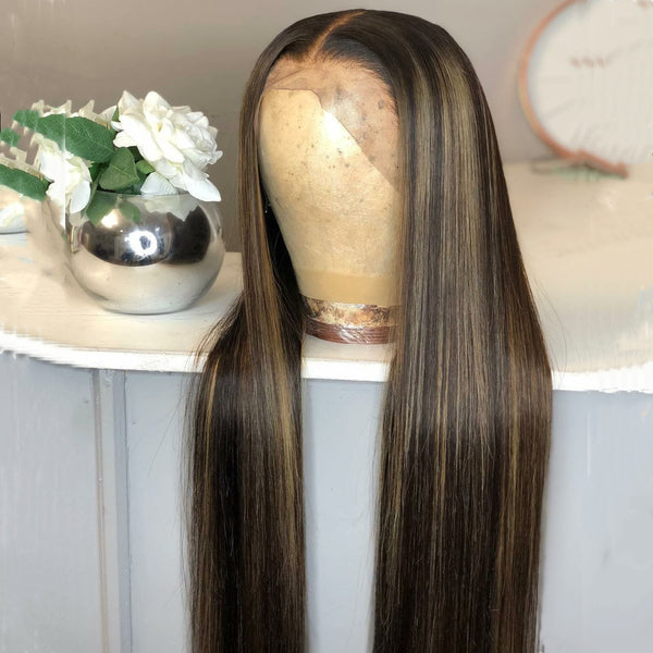 Brazilian Hair Lace Front Blond Highlight Ombre Color Long Wig