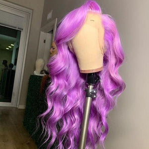 Peruvian Hair Lace Front Body Wave Purple/Pink Color Wigs
