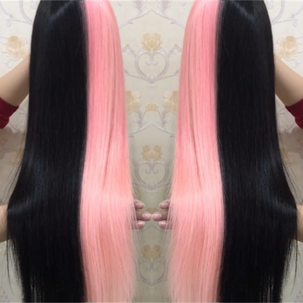 Human Peruvian Hair Half Pink And Half Black Lace Front Wigs